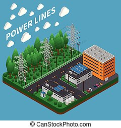 Electricity Power Isometric Composition