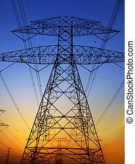 Electricity Pylon against blue sky. Environmental damage