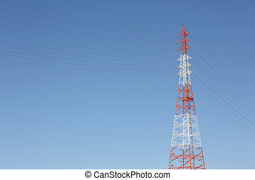 electricity pylon and steel cables