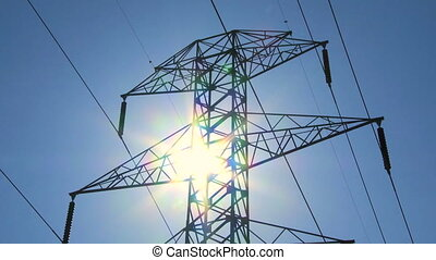 Electricity Pylon and Sun TL 01 - Time lapse of sun and...
