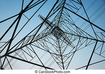Electricity pylon as seen from right under
