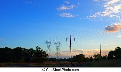 Electricity pylon beautiful late evening sunset