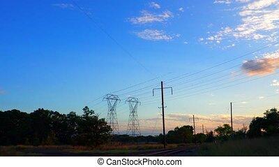 Electricity pylon beautiful late evening sunset sunset sky...