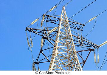 Electricity Pylon - Electricity pylon against blue sky: high...