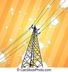 Electricity pylon in a splatter grunge view