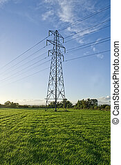 Electricity Pylon in a green field with blue sky.