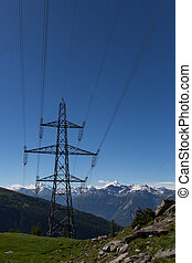 Electricity pylon in the mountains