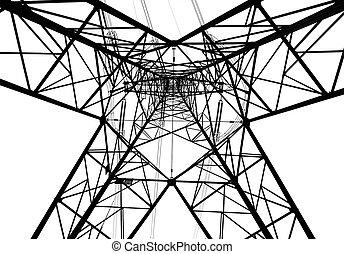 Electricity pylon isolated on white