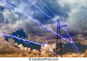 Electricity pylon on blue sky background.