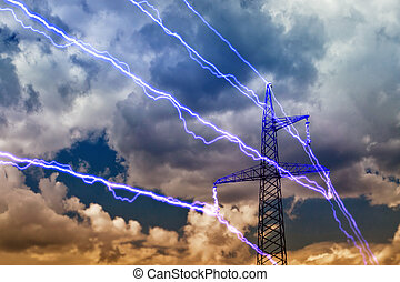 Electricity pylon on blue sky background.