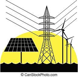 Electricity pylon, solar panel and wind turbines.