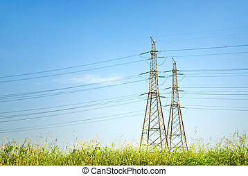 electricity pylon - power line in a serene day
