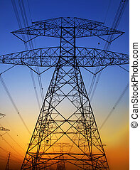 Electricity Pylon against blue sky. Environmental damage
