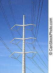 Electricity pylon - White high voltage electricity pylon and...
