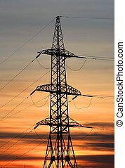 Electricity pylon. Sunset.