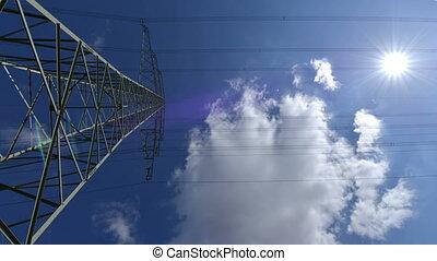 electricity pylon time lapse dolly - A high voltage...