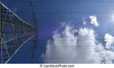 electricity pylon time lapse zoom - 10877 A high voltage...