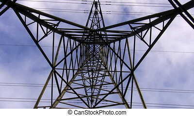 Electricity pylon top zoom in - High voltage power line...
