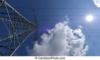 electricity pylon wide time lapse - A high voltage...