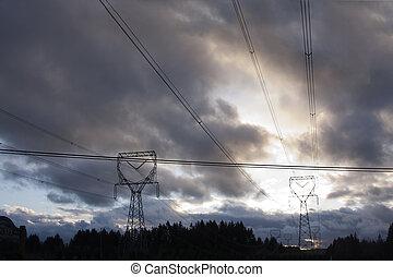 Electricity Pylongs on a Stormy Sunset.