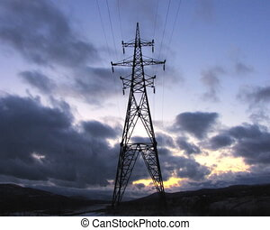 Electricity pylons.
