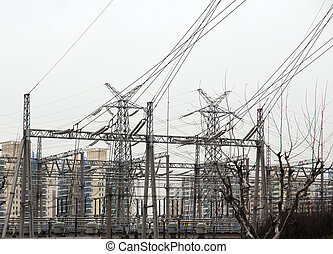 Electricity pylons in residential area - Electricity pylons...