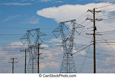Electricity Pylons - Large metal electricity pylons march ...