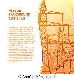 Electricity pylons silhouette over orange smooth backdrop....