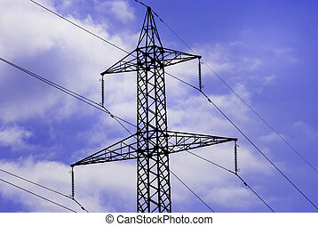 Electricity pylons with long cable at day