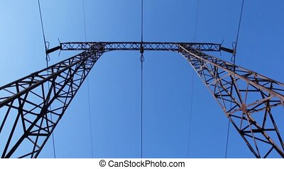 electricity pylons, vertical panning
