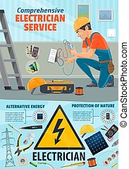 Electricity repair service, electrician worker