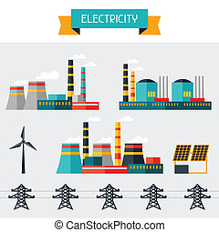 Electricity set of industry power plants in flat design...