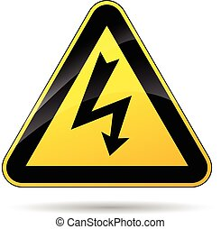 illustration of yellow triangle sign for electricity