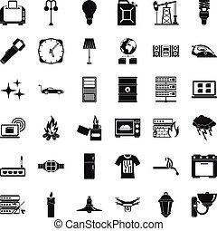 Electricity signal icons set, simple style