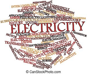 Electricity - Abstract word cloud for Electricity with...