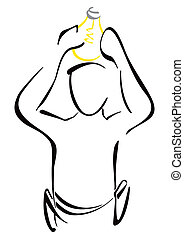 Electricity symbol - Illustration of electrician at work...