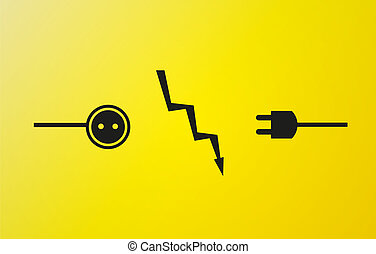 electricity symbols in black color on yellow background and flash