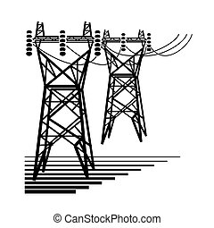 Electricity. The electric power transmission towers of high...