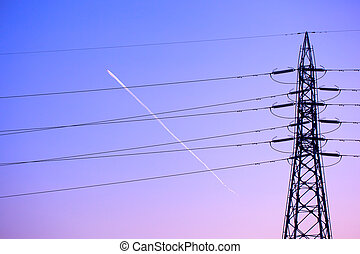 Electricity tower and lines