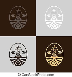Electricity Tower Icon Set