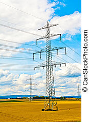 electricity tower in field
