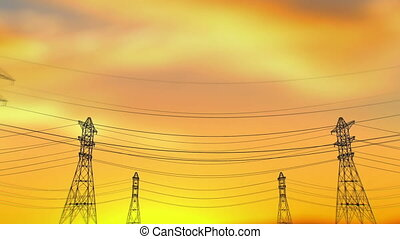 Electricity Towers From Train Window at Sunset