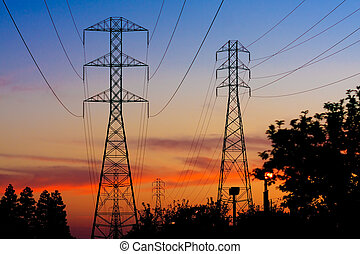 Electricity Towers Sunset