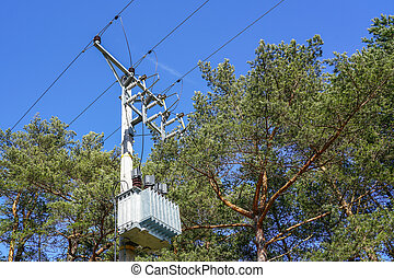 electricity transmission line pole with wires on a background of pine branches and blue sky