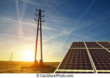 Electricity transmission pylon with solar panel