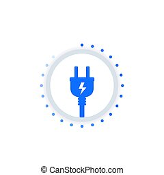 electricity vector icon with an electric plug