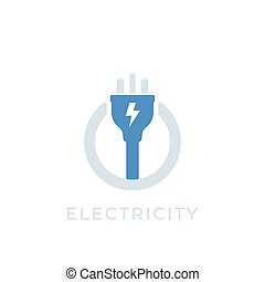 electricity vector icon with electric plug