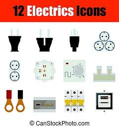 Electrics icon set - Flat design electrics icon set in ui...