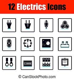 Electrics icon set. Shadow reflection design. Vector...