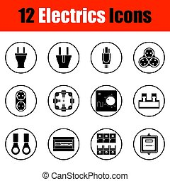 Electrics icon set. Thin circle design. Vector illustration.